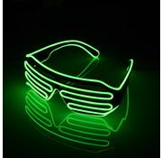 Joni's Glow-Shop El Wire Shutter bril Groen - El Wire Shutter glasses Green