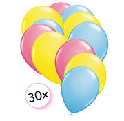 Joni's Winkel Ballonnen Roze, Geel & Licht blauw 30 stuks 27 cm