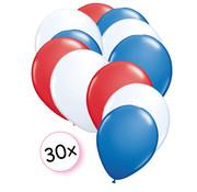 Joni's Winkel Ballonnen Rood, Wit & Blauw 30 stuks 27 cm