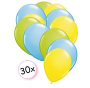 Joni's Winkel Ballonnen Licht Groen, Licht Blauw & Geel 30 stuks 27 cm