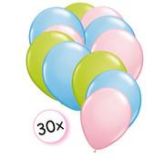 Joni's Winkel Ballonnen Licht Groen, Licht Blauw & Licht Roze 30 stuks 27 cm