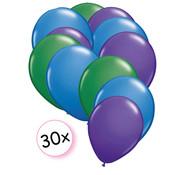 Joni's Winkel Ballonnen Groen, Blauw & Paars 30 stuks 27 cm