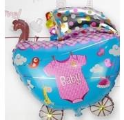 Joni's Winkel Grote XL Folie ballon kinderwagen blauw