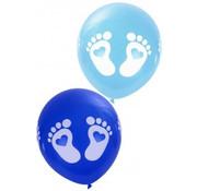 PartyXplosion Ballonnen voetjes blauw 8 stuks 32 cm