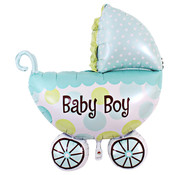Joni's Winkel Folieballon Kinderwagen jongen 35x27