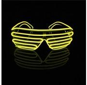 Joni's Glow-Shop El Wire Shutter bril Geel - El Wire Shutter glasses Yellow