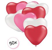 Joni's Winkel Ballonnen hartjes Roze/Wit/Rood 50 stuks 18 cm