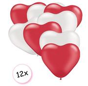 Joni's Winkel Ballonnen Hart Rood & Wit 12 stuks 26 cm