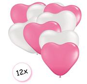 Joni's Winkel Ballonnen Hart Roze & Wit 12 stuks 26 cm