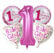 Joni's Winkel Ballonnen set First birthday girl 5 ballonnen