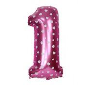 Joni's Winkel Folieballon 1 Roze/Wit 35 cm