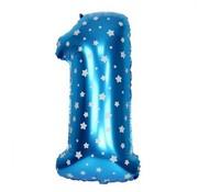 Joni's Winkel Folieballon 1 Blauw/Wit 35 cm