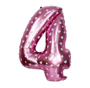 Joni's Winkel Folieballon 4  Roze/Wit 35 cm