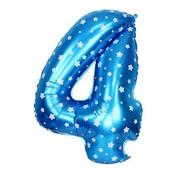 Joni's Winkel Folieballon 4  Blauw/Wit 35 cm