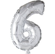 Joni's Winkel Folieballon 6 Zilver 35 cm