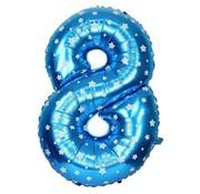 Joni's Winkel Folieballon 8 Blauw/Wit 35 cm