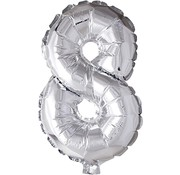 Joni's Winkel Folieballon 8 Zilver 35 cm