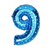 Joni's Winkel Folieballon 9 Blauw/Wit 35 cm