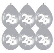 Haza Original Ballonnen 25 Jaar Zilver/Wit 6 stuks 30 cm
