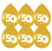 Haza Original Ballonnen 50 Jaar Goud/Wit 6 stuks 30 cm