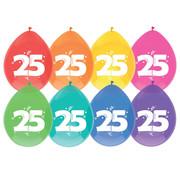 Haza Original Ballonnen 25 Jaar Multi/Wit 8 stuks 30 cm