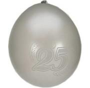 PartyXplosion Ballonnen 25 Jaar Zilver/Wit 8 stuks 32cm