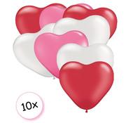 Ballonnen Hart Roze,Rood & Wit 10 stuks 26 cm