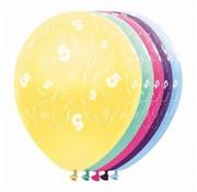 Ballonnen getal 5 & Confetti 5 stuks 30 cm