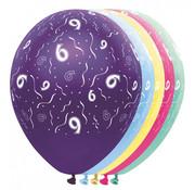 Folat Ballonnen getal 9 & Confetti 5 stuks 30 cm