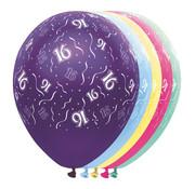 Folat Ballonnen getal 16 & Confetti 5 stuks 30 cm