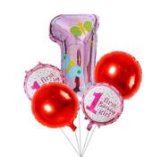 Ballonnen set First birthday girl roze