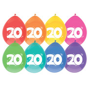 Haza Original Ballonnen 20 Jaar Multi/Wit 8 stuks 30 cm