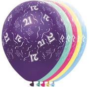 Folat Ballonnen getal 21 & Confetti 5 stuks 30 cm