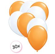 Joni's Winkel Ballonnen Oranje & Wit 30 stuks 27 cm