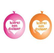 Haza Original Ballonnen hoera een dochter 6 stuks 30 cm