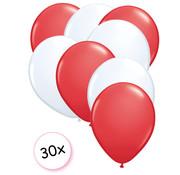 Joni's Winkel Ballonnen Rood & Wit 30 stuks 27 cm