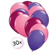 Joni's Winkel Ballonnen Fuchsia, Roze & Paars 30 stuks 27 cm