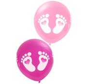 PartyXplosion Ballonnen voetjes roze 8 stuks 25 cm