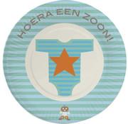 Haza Original Beschuitbordjes Hoera een zoon 8 stuks 18 cm