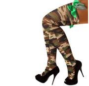 PartyXplosion Stay-up kousen camouflage+strik+handgranaat one size