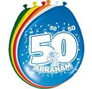 Ballonnen hoera Abraham 8 stuks 30 cm