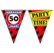 Vlaggenlijn Hoera ik ben 50 jaar Abraham 10 meter