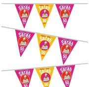 Vlaggenlijn Hoera voor Sarah 6 meter 50 jaar