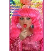 Pruik Candy lang fluor roze