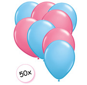 Joni's Winkel Ballonnen Licht blauw & Roze 50 stuks 27 cm