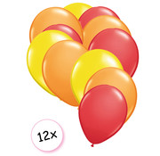 Joni's Winkel Ballonnen Geel, Oranje & Rood 12 stuks 27 cm