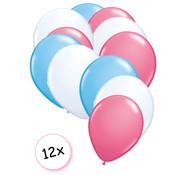 Joni's Winkel Ballonnen Licht blauw, Wit & Roze 12 stuks 27 cm