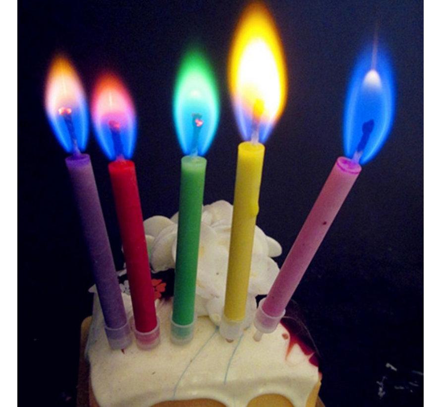 Kaarsjes met gekleurde vlammen - Candles with colored flames 12 st