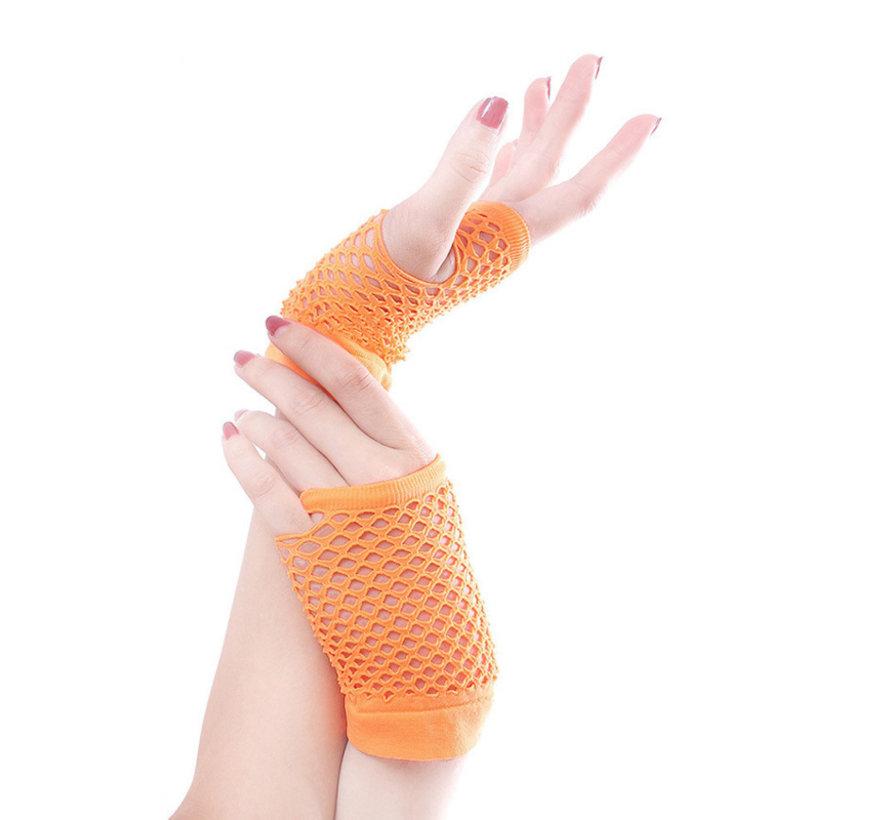Vingerloze handschoen net NEON Oranje