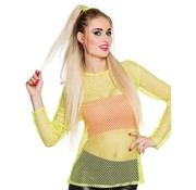 Joni's Glow-Shop Fishnet shirt maat M/L Neon geel